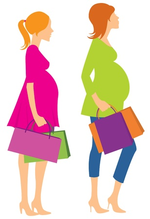 childbearing: Silhouettes of pregnant women coming