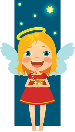 Little Angel Happy Christmas gifts and presents Vector