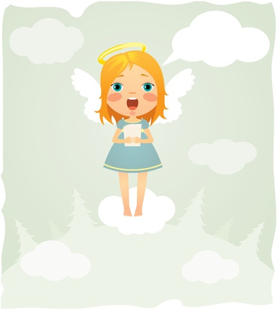 Singing Christmas angel flies on a cloud Stock Vector - 11173210