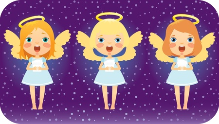 Angels are singing in the Christmas night. Vector