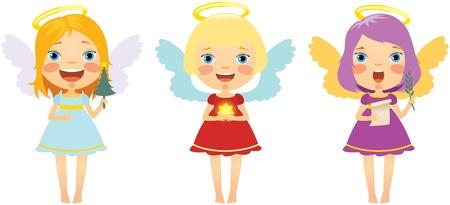 angeles bebe: Tres Feliz pequeño Navidad ángel Vectores