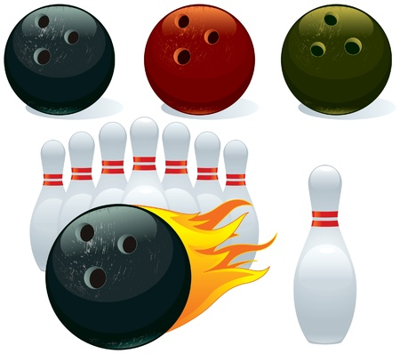 ten pin bowling: Set of balls and pins bowling Illustration