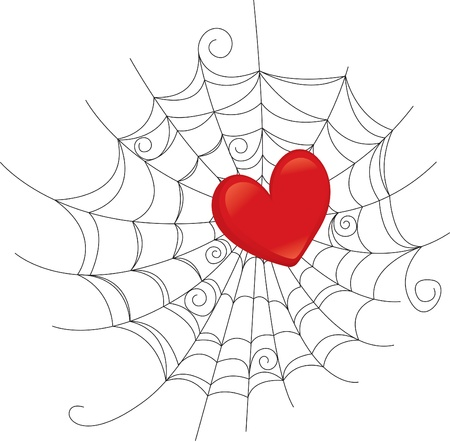 caught: Trapped in the heart of the web.