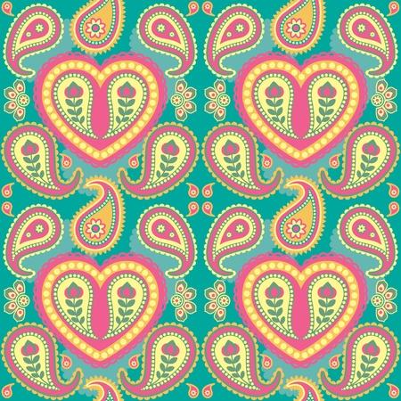 paisley: Jednolite tło w stylu orientalnym paisley Ilustracja