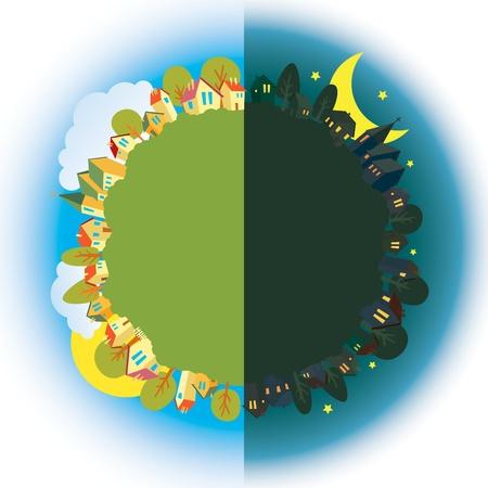 zon en maan: Gezicht op de stad in de middag en 's avonds. Stock Illustratie
