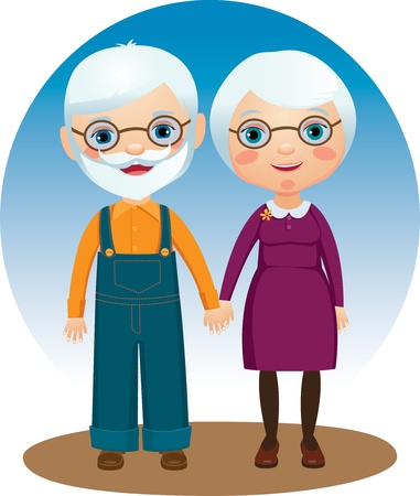 Dear elderly couple holding hands. Vector