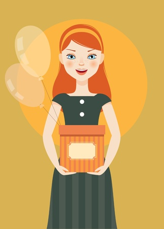 Pretty girl with a gift in hands Vector