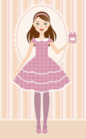Cute girl in a beautiful dress with present in hand Vector
