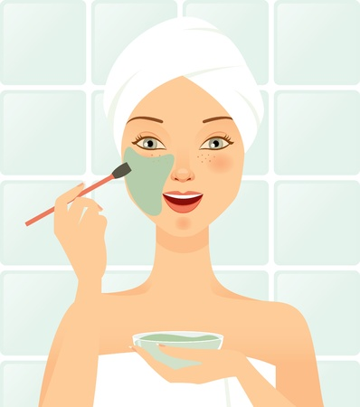 cleaning bathroom: Beautiful young girl who does cosmetic on the face. Illustration