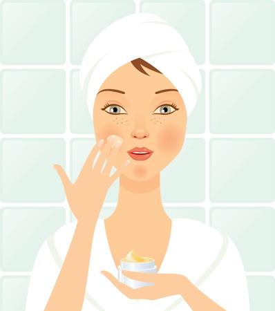 bathrobe: Girl in the bathroom cleans the face. Illustration