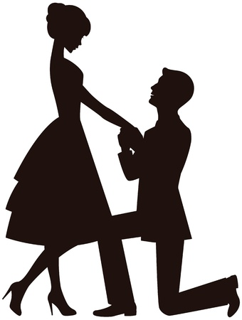 ひざまずく: 彼の膝の上の男は女の子と結婚する提案  イラスト・ベクター素材
