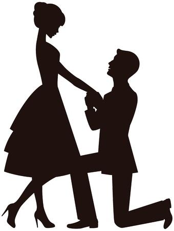 Een man op zijn knieën, maakt een voorstel om het meisje te trouwen