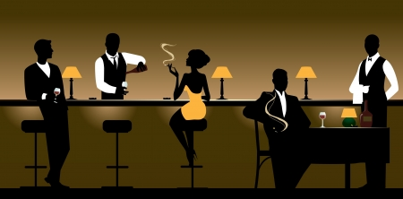 Men and women who rest in the night bar. Illustration