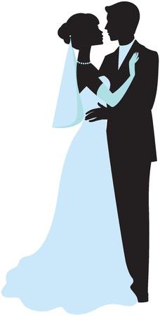 heterosexual: Silueta de la novia y el novio Vectores