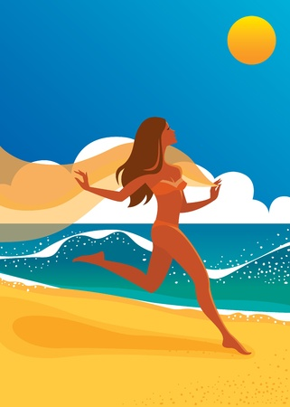Beautiful girl in a bikini running on the beach Vector