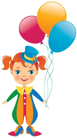 cute baby girls: Little clown with balloons in hand Illustration