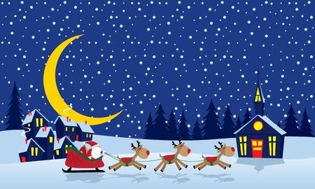 christmas church: Christmas card in a cartoon style.