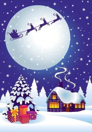 Magic Christmas night full of surprises. Stock Vector - 11173199