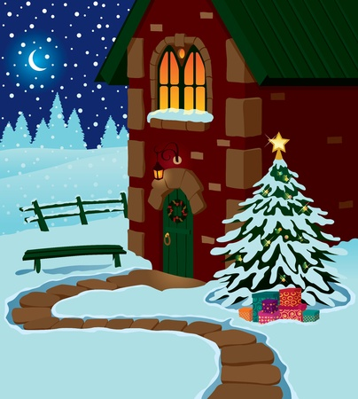 Country house on Christmas night Vector