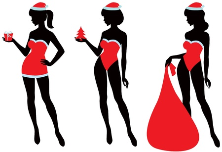 Silhouettes of three sexy girls in the image of Santa Claus Stock Vector - 11173170