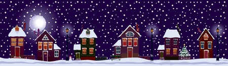 Festive street of the city on Christmas night. Vector
