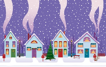 Peaceful evening on Christmas Eve in the city. Stock Vector - 11173186