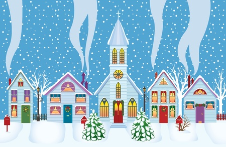 church window:  Wonderful winter morning of Christmas Illustration
