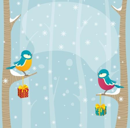 robin: Birds in winter forest