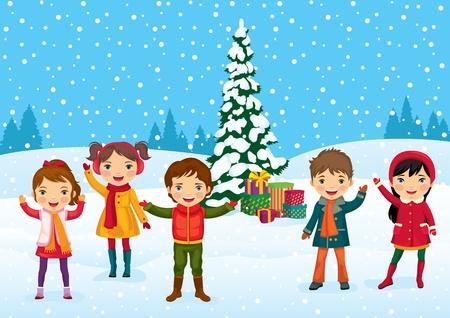 winter fun: Funny kinderen zich vermaken in het weekend voor de kerst Stock Illustratie