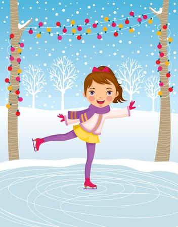 cartoon little girl: Little girl ice skating Illustration
