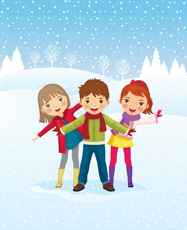 winter vacation: Winter day. Children playing outdoors