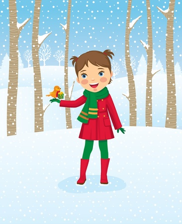 Girl walking in winter forest Stock Vector - 11664440