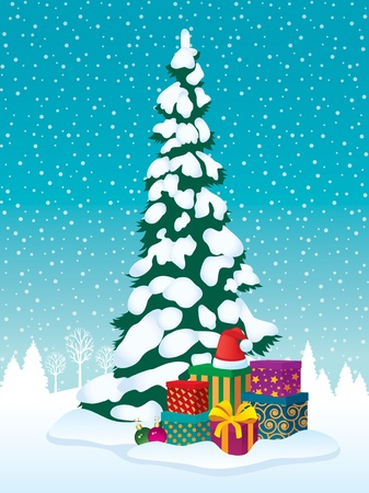 snow drifts: Christmas tree and gifts