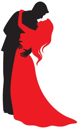 Silhouette of embracing lovers