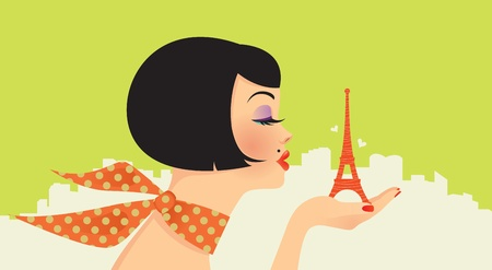 Pretty glamorous girl holds in the palm of the Eiffel Tower Vector