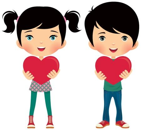 pareja de adolescentes: Los ni�os dan su amor