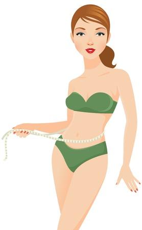 Beautiful girl in underwear measuring waist