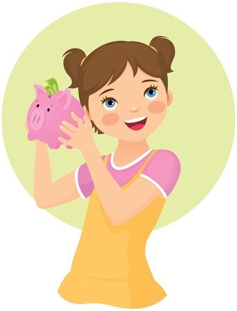 money boxes: Little girl holding piggy bank