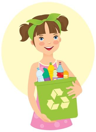 Little girl holding recycling bin Illustration