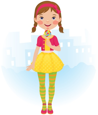 braids: The little girl in a beautiful dress with a lollipop in his hand Illustration