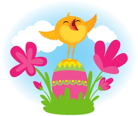 Easter chick happy and sing Vector