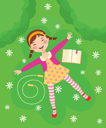preschooler: Funny girl relaxing on green grass