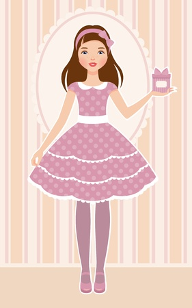 Girl with present Stock Vector - 13594595