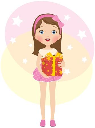 pretty teenage girl: Birthday gift Illustration