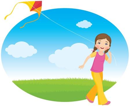 papalote: Chica con una cometa