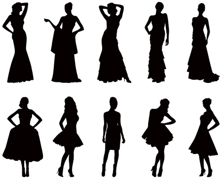 Elegant silhouettes of women in evening dresses