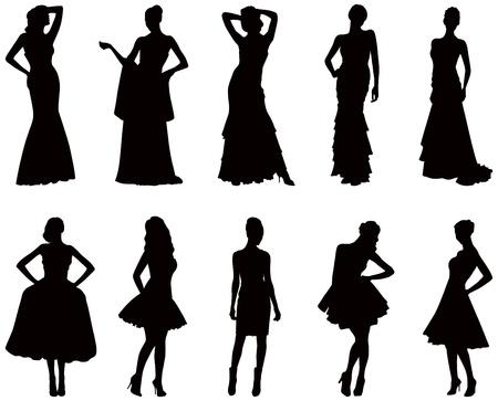 attire: Elegant silhouettes of women in evening dresses