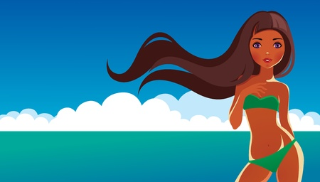 Girl at sea Vector