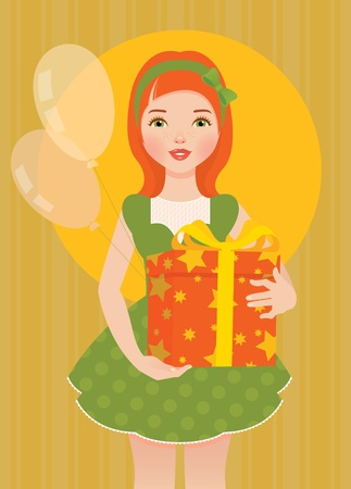 glamur: Girl with a gift for his birthday Illustration