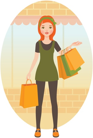 Woman with shopping Stock Vector - 13594592